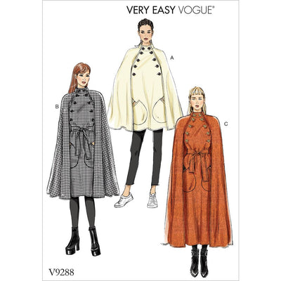 Vogue Pattern V9288 Misses Cape with Stand Collar Pockets and Belt 9288 Image 1 From Patternsandplains.com