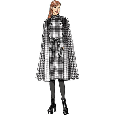 Vogue Pattern V9288 Misses Cape with Stand Collar Pockets and Belt 9288 Image 4 From Patternsandplains.com.jpg