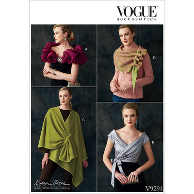 Vogue Pattern V9291 Misses Wraps Shrug and Scarf 9291 Image 1 From Patternsandplains.com