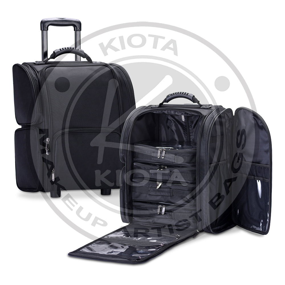 d20bfb8d0b4e KIOTA - Rolling Makeup Cosmetic Case w/ Organizer Pouches Soft-sided Nylon  Fabric