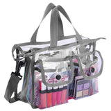 KIOTA - Clear PVC Travel Makeup Cosmetic Bag with 2 External Pockets and Shoulder Strap