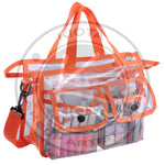 KIOTA - Clear PVC Travel Makeup Cosmetic Bag with 2 External Pockets and Shoulder Strap - Aptlee Designs