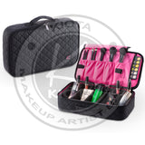 KIOTA - Professional Compact On The Go Portable Makeup Train Case with Brush Pockets and Dividers - Aptlee Designs