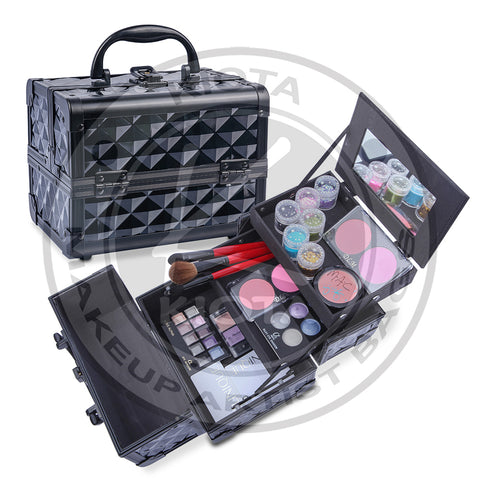 "KIOTA - Mini Makeup Train Case 9.5"" Aluminum Professional Cosmetic Organizer Box with Mirror - Aptlee Designs"