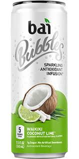 Bai Bubbles Waikiki Coconut Lime 11.5oz. cans 24 per case