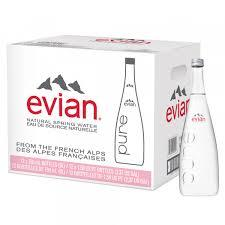 Evian Water 1 Liter glass bottles 12 per case