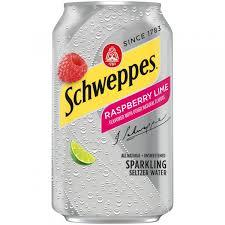 Schweppes Raspberry Lime Seltzer 12oz. cans 24 per case