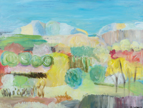 Desert landscape in acrylic on canvas by Alison Corteen at artbyalisonc. Californian nature inspired.