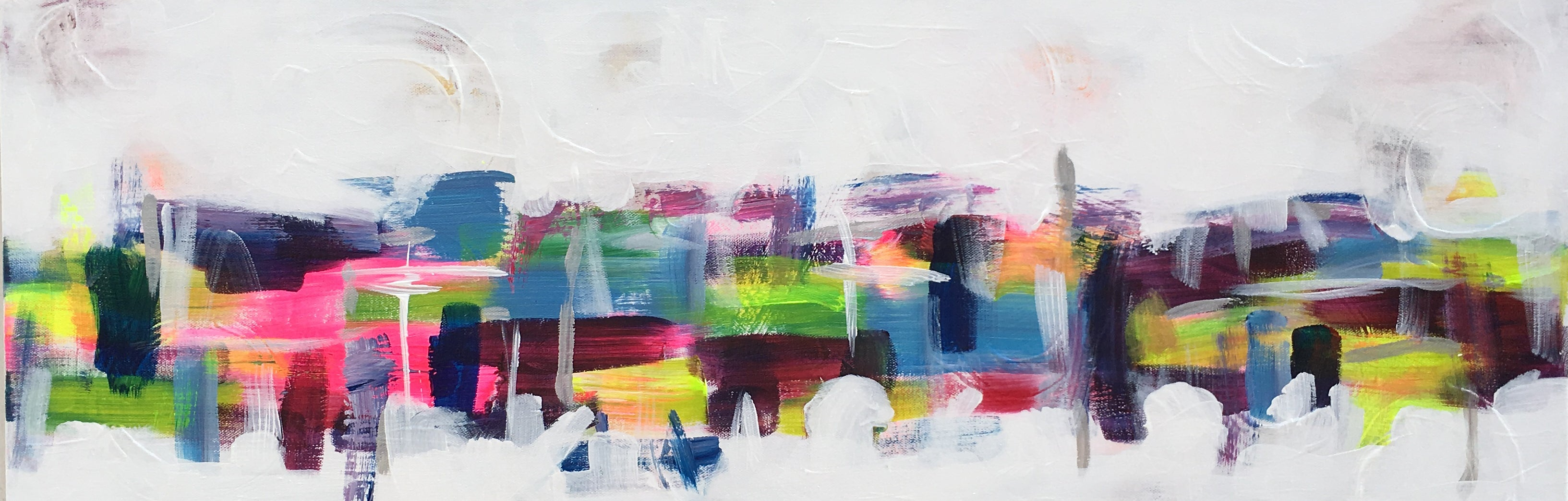 Abstract and modern acrylic painting of spring in the City by Alison Corteen