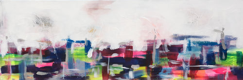 Abstract and modern acrylic painting of spring in the City by Alison Corteen, artbyalisonc.