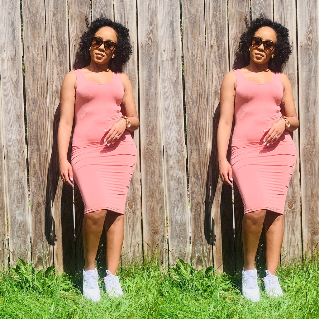 Sade Baesic Midi Dress (Dusty Pink)
