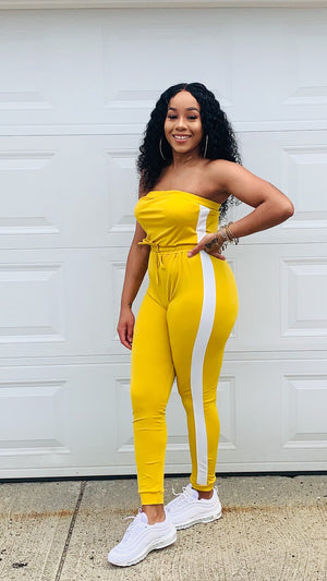 Don't Play Stripe Jumpsuit (Mustard Yellow)