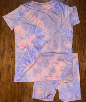 Tie Dye Baesic Biker Set (Purple)