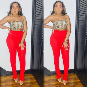 Snatch Me Up High Waisted Pants- Red