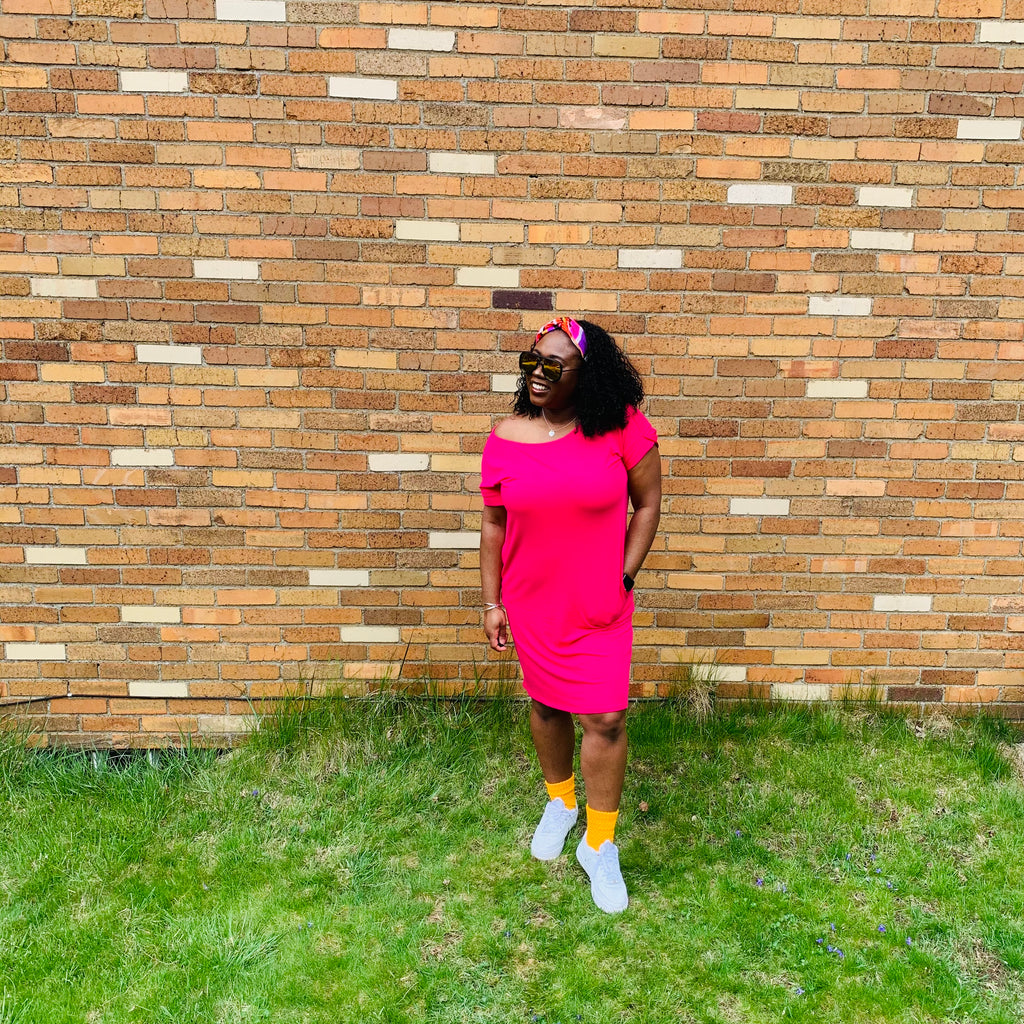 Essential Midi Dress (Hot Pink)