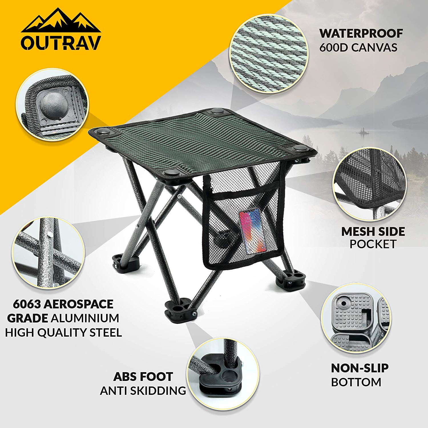 Excellent Outdoor Travel Folding Small Chair Portable Stool For Camping Squirreltailoven Fun Painted Chair Ideas Images Squirreltailovenorg