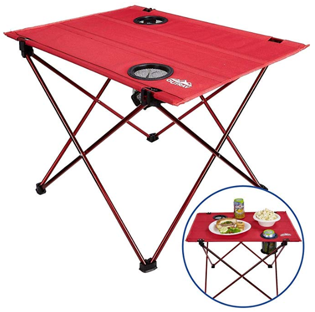 Enjoyable Outrav Portable Picnic And Camping Table With Two Cup Holders Drawstring Carrying Case Bralicious Painted Fabric Chair Ideas Braliciousco