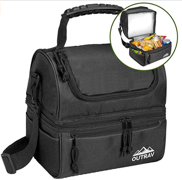 c3077ffc31e1 Outrav Black Padded Insulated Lunch Bag Cooler