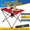 Outrav Portable Picnic and Camping Table - with Two Cup Holders - Drawstring Carrying Case
