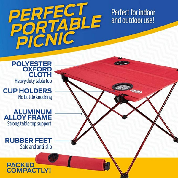 Camping Table And Chairs.Outrav Portable Picnic And Camping Table With Two Cup Holders Drawstring Carrying Case