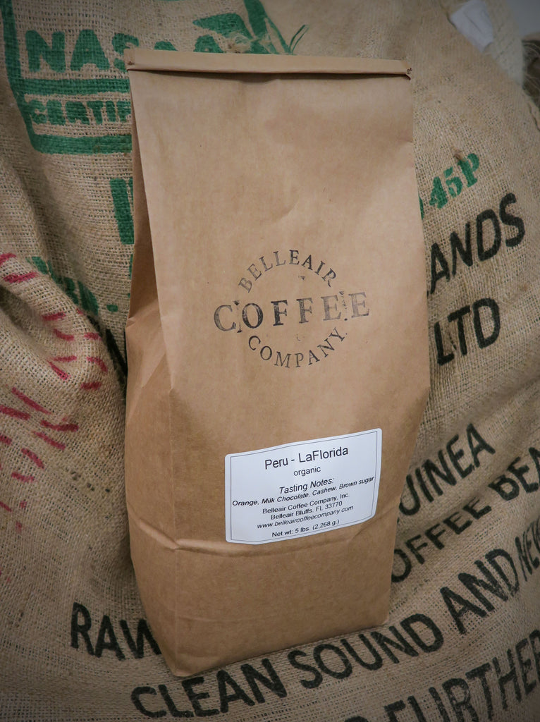 5 lb. Bag - Organic Whole Bean Peru Coffee, La Florida, Fair Trade (GP)