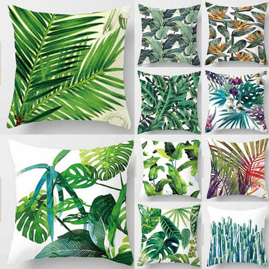 Tropical plants, green leaves monstera cushion covers