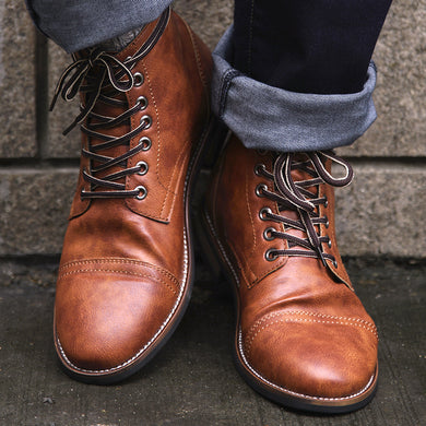 COSIDRAM High Quality British Men Boots PU  Leather - My MAIDEN