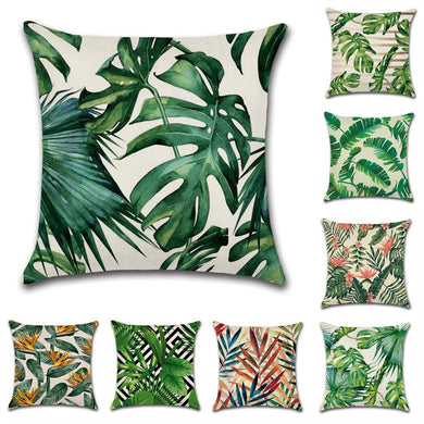 Tropical plants palm leaf green leaves monstera cushion covers