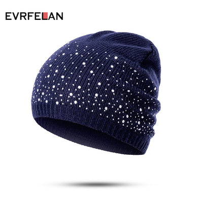 Evrfelan winter beanie hats women, soft knitting hat female fashion with rhinestone, cotton - My MAIDEN