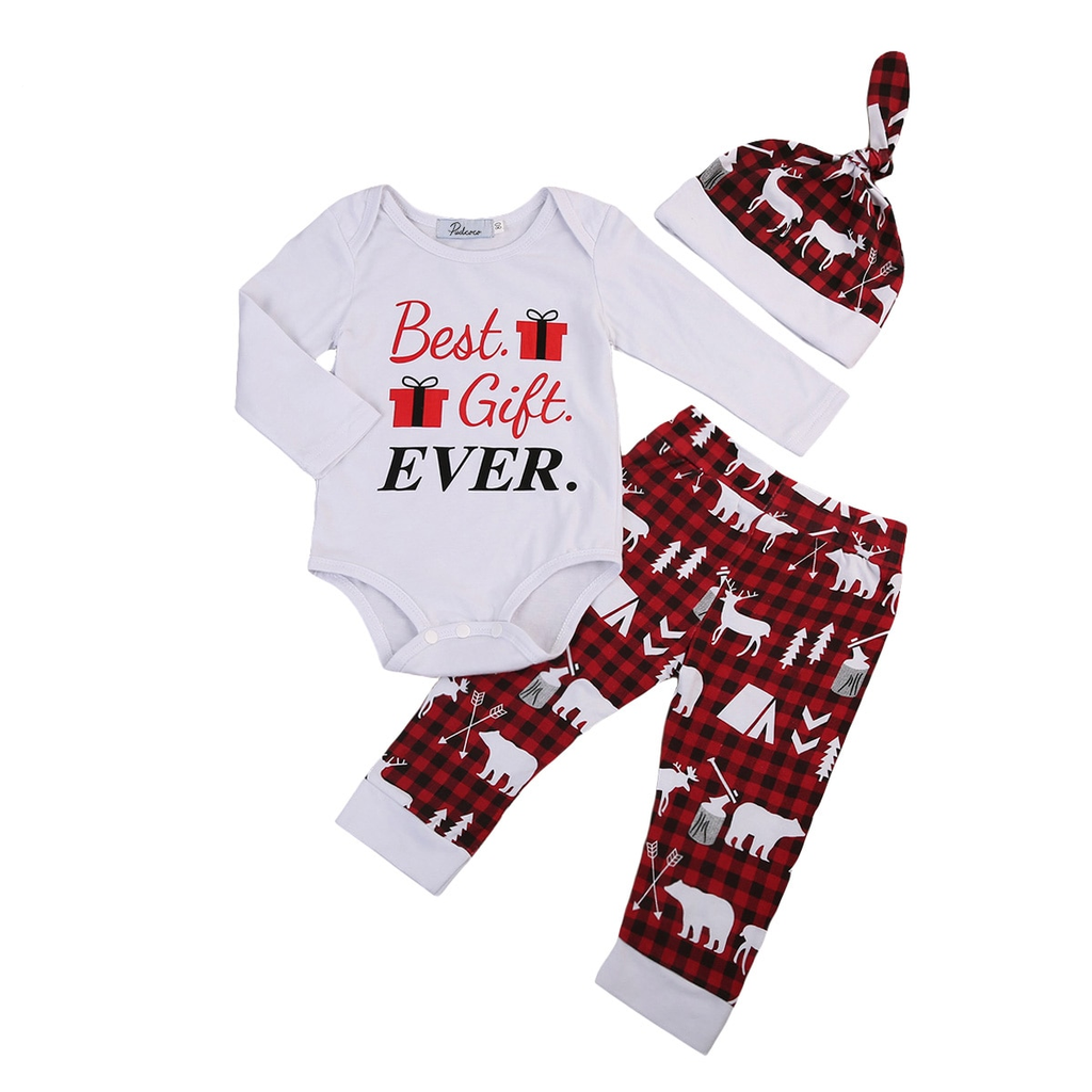 Best Gift Ever Printed Baby Boy Girl Christmas Clothing 3-PCS Set ...