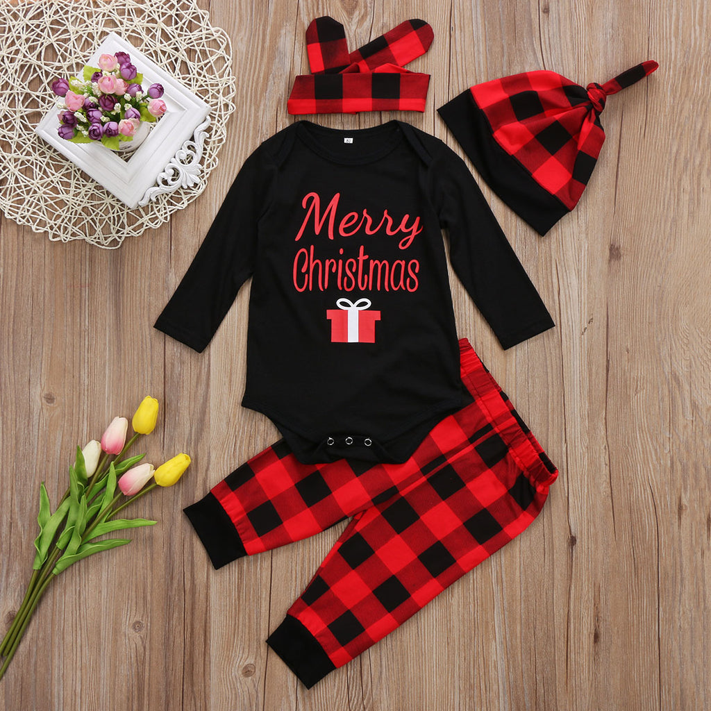 bab548dad Newborn Infant Baby Girls Boys Long Sleeve Romper + Plaid Pants + Headband  + Hat Christmas