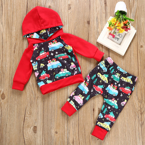 0409289c50a7 6M, 12M, 18M, 24M. Select Options. Baby Boy Christmas Tree Hooded with  Colorful Car Pant Clothes Set