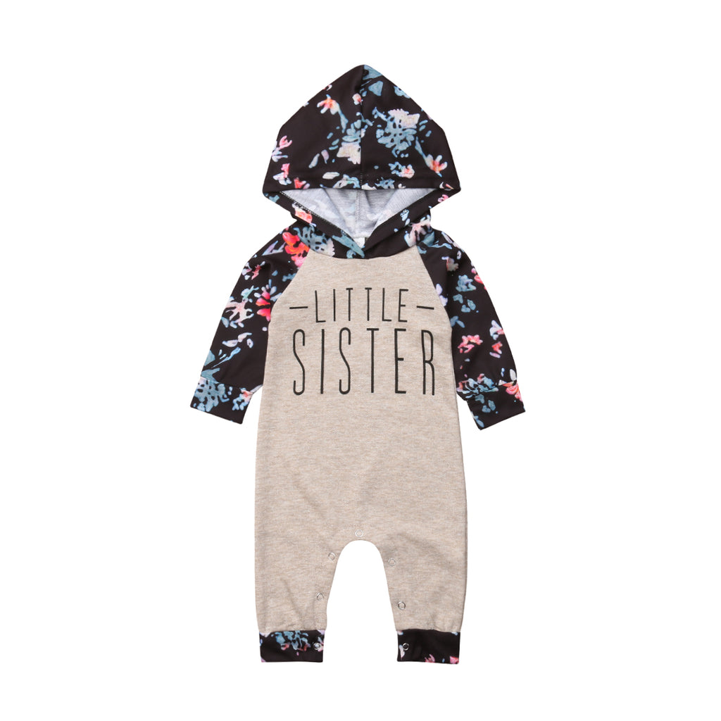 b45a9b406c5d Floral Big Sister Hooded Tops Little Sister Hooded Jumpsuit Family Matching  Outfits - Online Baby Zone