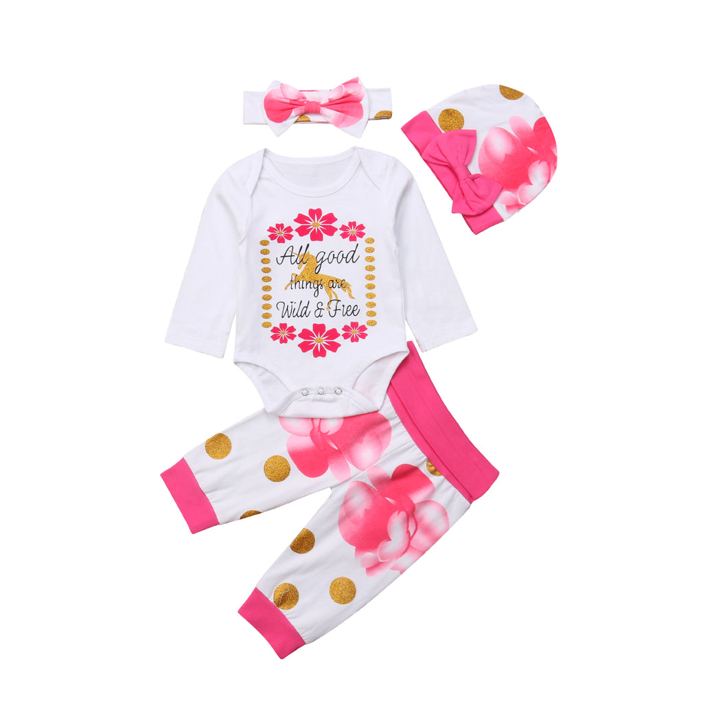 ac73a7d307f All Good Things Are Wild   Free Baby Girls Unicorn Romper with Floral Pants  + Hat