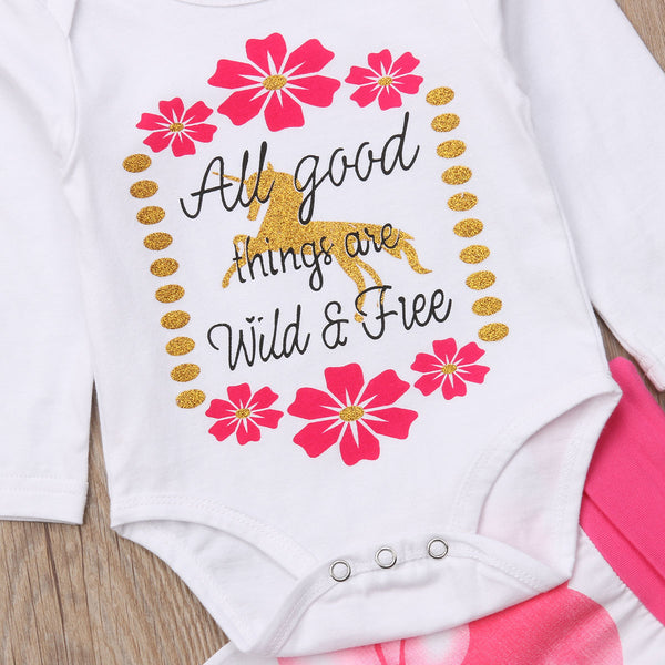 b9a26de196e3 All Good Things Are Wild   Free Baby Girls Unicorn Romper with Floral –  Online Baby Zone