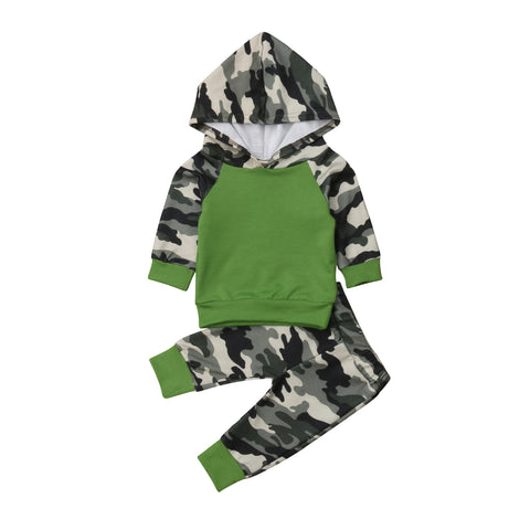 eb3758a92bb5 3M, 6M, 12M, 18M. Select Options. -34%. Baby Boys Camo Hooded Tops + Pants  Outfits Sets