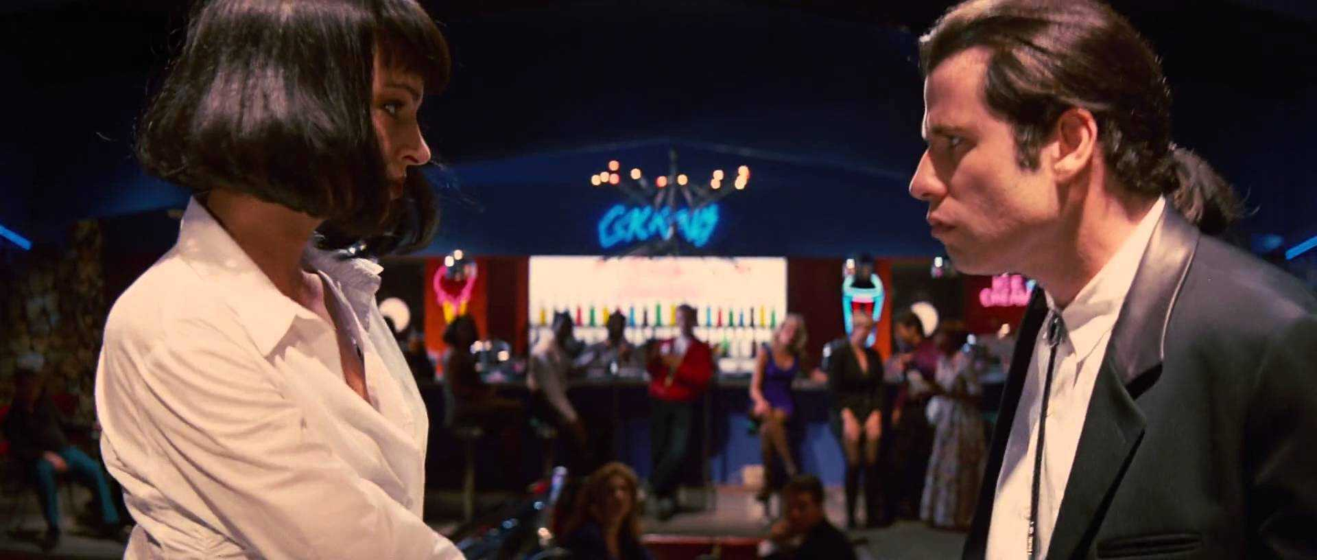 Uma Thurman and John Travolta star as Mia Wallace and Vincent Vega in Quentin Tarantino's Pulp Fiction