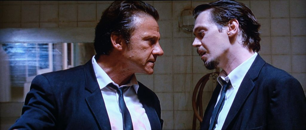 Harvey Keitel and Steve Buscemi star as Mr White and Mr Pink in Quentin Tarantino's Reservoir Dogs