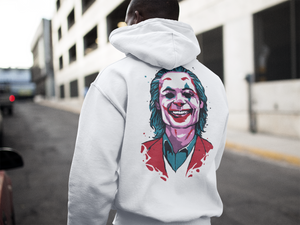 Joker Emblem Hoodie (White) - Masters of Cinema Clothing