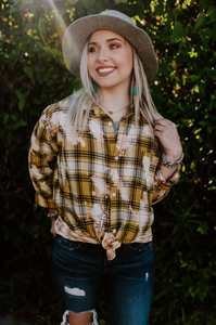 Mustard Bleached Plaid Flannel