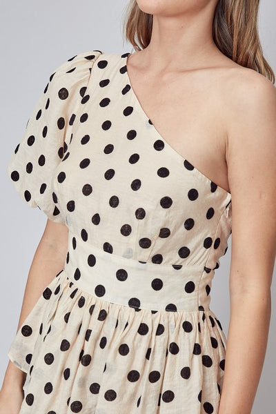 Taupe Black Polka Dot One Shoulder Top