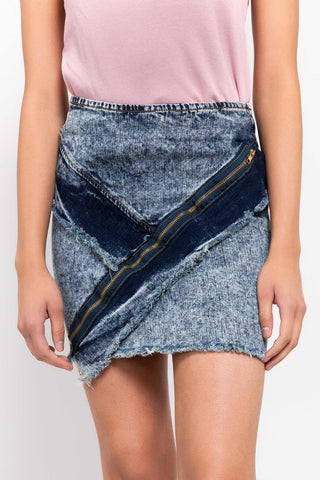 POL Zip Detail Denim Skirt