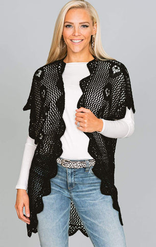 Black Scallop Crochet Cardigan
