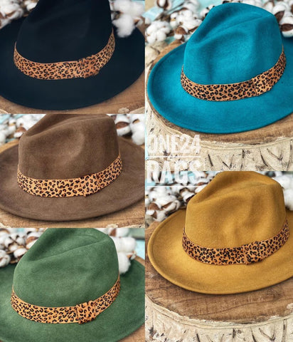 Wool Brim Hat With Hyde Leopard Ribbon Trim Hat