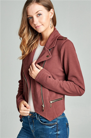 Deep Mauve Double Zip Moto Jacket