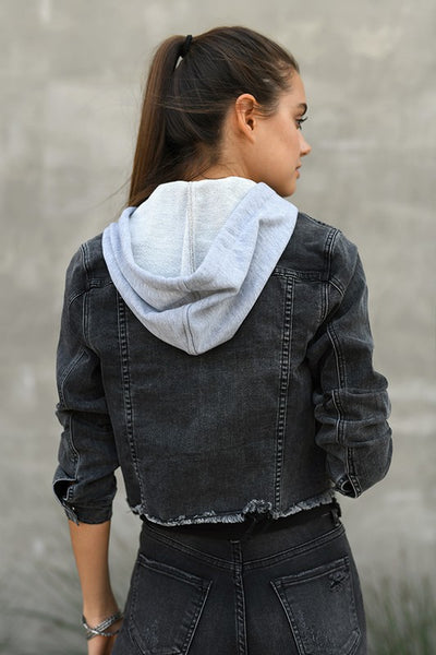 Dark Grey Raw Hem Denim Hooded Jacket