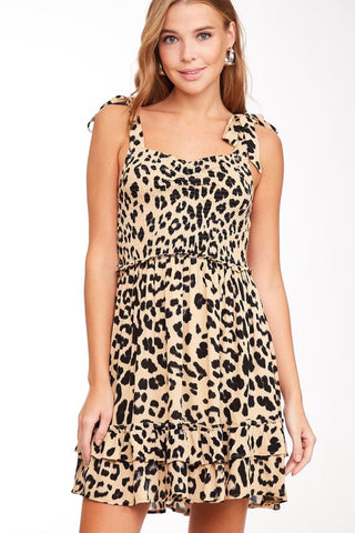 Smocked Leopard Print Short Dress