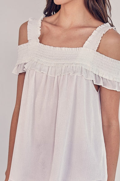 White Cold Shoulder Smocked Detail Top
