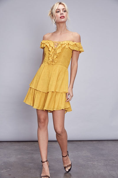 Mustard Off Shoulder Ruffle Detail Dress