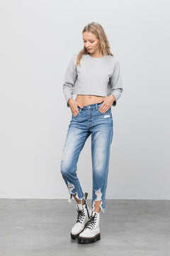 Pure Blue Crew Ripped Girlfriend Jeans